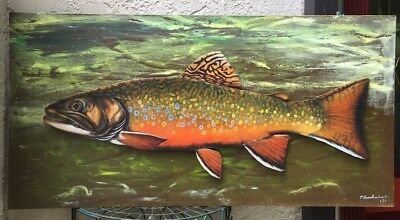 Original Signed Large Fish Oil Painting Brook Trout Fishing Sportsman Gift