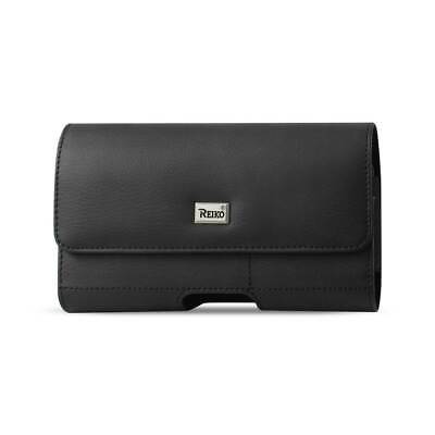 Reiko Horizontal Leather Pouch With Card Holder In Black (5.8X3.2X0.7 Inches)