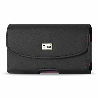 Reiko Horizontal Leather Pouch With Embossed Logo In Black (5.8X3.2X0.7 Inches)