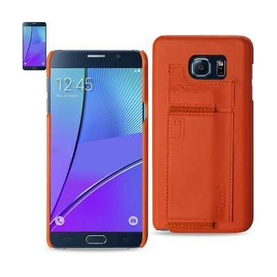 Samsung Galaxy Note 5 Rfid Genuine Leather Protection & Key Holder In Tangerine