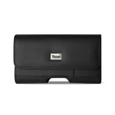 Reiko Horizontal Leather Pouch With Card Holder In Black (5.8X3.0X0.7 Inches)