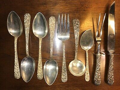Kirk Repousse Sterling Silver Flatware Set: Service for Six: 54 Pieces: No Mono