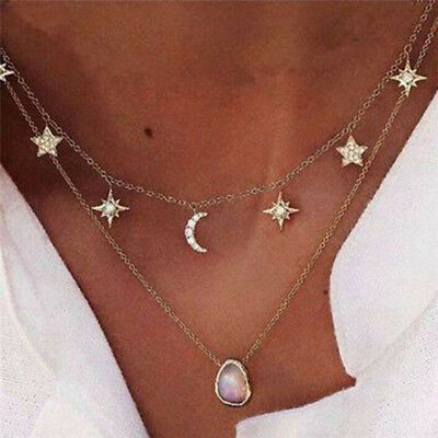 Multilayer Choker Pendant Necklace Star Moon Chain Gold Women Summer Jewelry S&K