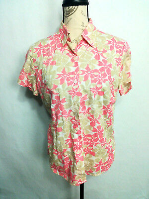 1ef9a06142433 Lemon Grass Studio Womens Blouse Floral Button Front Shirt Top sz S Cotton