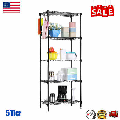 9ecd346a11 5-Tier Wire Shelving Unit Metal Storage Organizer Shelves Bookcase Kitchen  Shelf