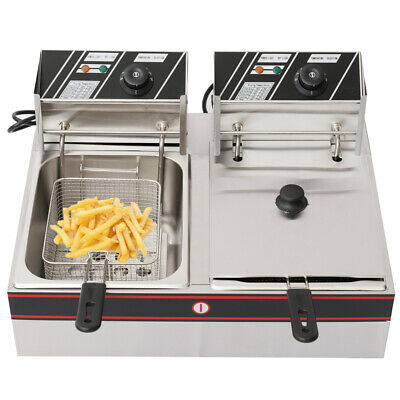 Pro Chip Commercial Fryer Stainless Steel 2x6L Deep Fat Fry Twin Tank Gastronomy