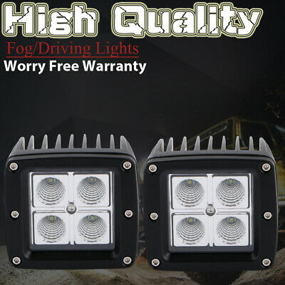 2pcs 16W LED Work Light Cube Pods Offroad Truck Jeep Square FLOOD Driving Lamp