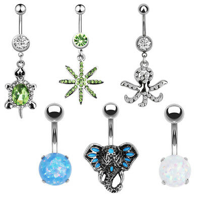 Belly Bars Button Body Piercing Ring Drop Dangle Dangly Reverse Silver Gold Gift