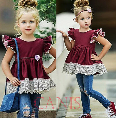 4357c87e9951 Boutique Toddler Kids Girls Silk Lace Dress Ripped Jeans Denim Outfits Set  1-6T