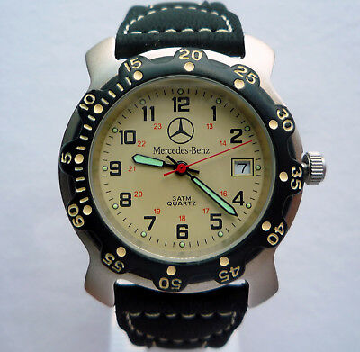 Mercedes Benz Classic Sport Business Military Time Display Retro Design Watch