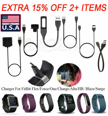 TX USB Charger Charging Cable For Fitbit Alta Blaze Charge HR Surge Versa Flex 2