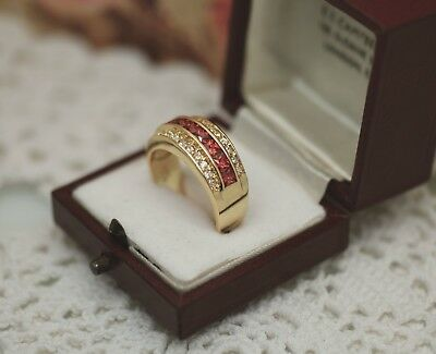 Art Deco Vintage Jewellery Ring Ruby And White Sapphires Antique Jewelry Size N