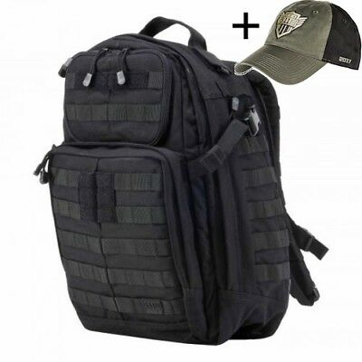 5.11 Tactical Rush 24 BLACK Back Pack with Free Cap
