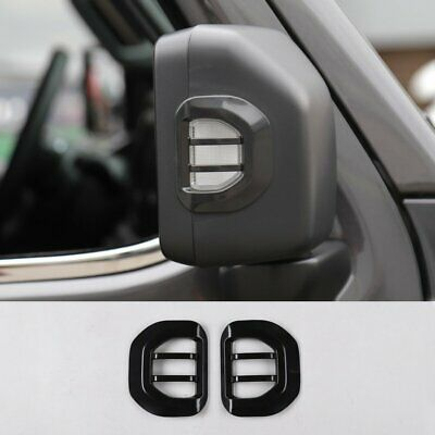 Black Rearview Mirror Turn Signal Light Guard Cover For 2018-19 Jeep Wrangler JL