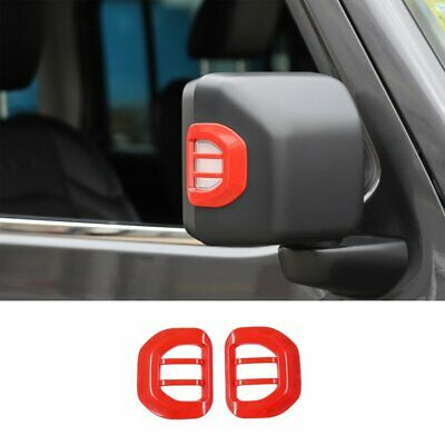 Red Rearview Mirror Turn Signal Light Guard Cover For 2018-2019 Jeep Wrangler JL