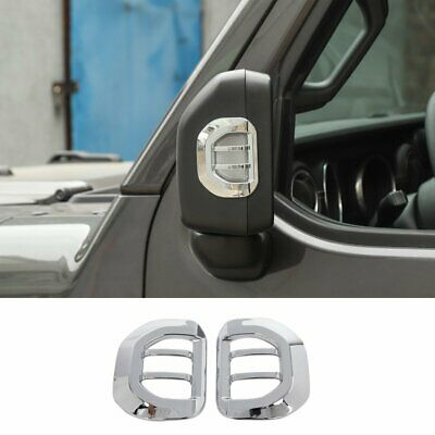 Chrome Rearview Mirror Turn Signal Light Guard Cover For 2018+ Jeep Wrangler JL