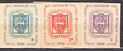 LITHUANIA EXILE EDITION STOVIKLOS HASSENDORF GERMANY SET OF 3 STAMPS pre-1950