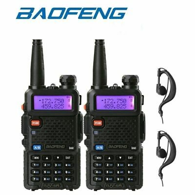 2pcs BAOFENG UV-5R VHF/UHF Dual Band Two-Way Radio Handheld Tranceiver+ Earpiece
