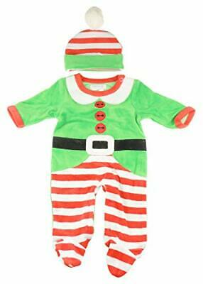 Festive Christmas Winter Baby Girls Boys Velour Romper Sleeper  Hat All in One