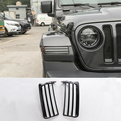 Black ABS Car Front Wheel Eyebrow Light Cover Trim For 2018+ Jeep Wrangler JL