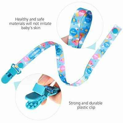 YEAHIBABY Pacifier Clips 5 Pack Pacifier Holder for Boys and Girls Fits All Paci