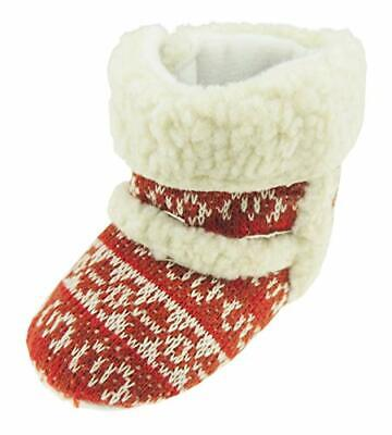 Baby Girls Boys Festive Winter Warm Slippers Booties Pram Shoes Christmas Red Wh