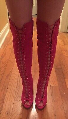 NIB Club Wear Hot Pink Suede Thigh High Lace Up Stiletto Boots