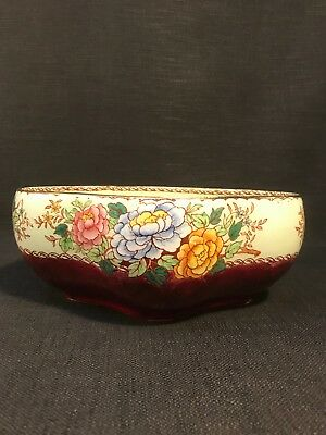 "Vintage Maling Lustre Ware ""Peony Rose"" Large Red, Green & Floral Bowl Planter"