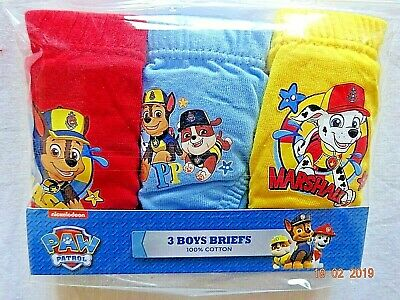 Paw Patrol Character Pants Briefs 3 Pairs Boys Pack 100% Cotton Licensed 2-5 Yrs