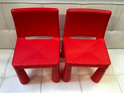 Set of 2 x Red Childrens Plastic Chairs - Kids Toddlers Childs Chairs - NEW