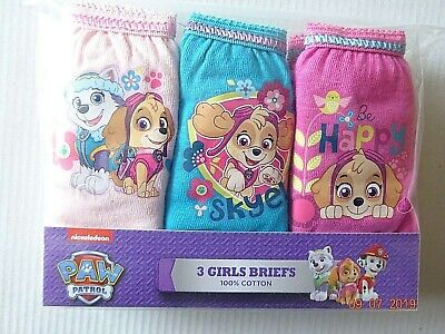 Paw Patrol Character Pants/ Briefs 3 Pairs Girls Pack 100% Cotton Licensed