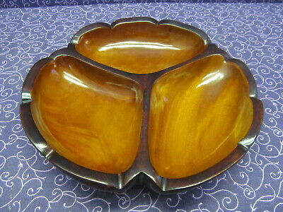Beautiful Vintage Haitian Mahogany Wood Divided Tray Serving Dish Numbered Piece