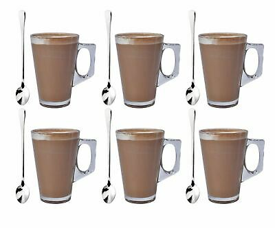 Pack of 6 Latte Glass & 6 Tea Spoons Coffee Cappuccino Drinking Cup 240ml
