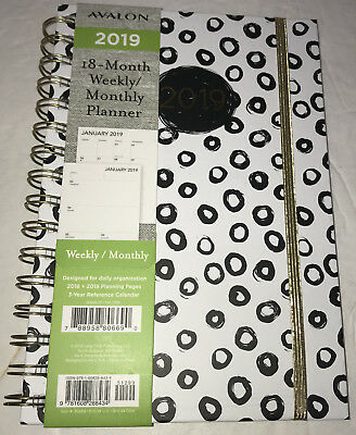 NEW Avalon 2019 Weekly Monthly Planner Calendar Black White Circles 18 Month 6x8