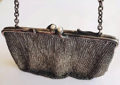 Antique Sterling Silver Baroque Pearl And Emerald Snake Mesh Ladies Bag