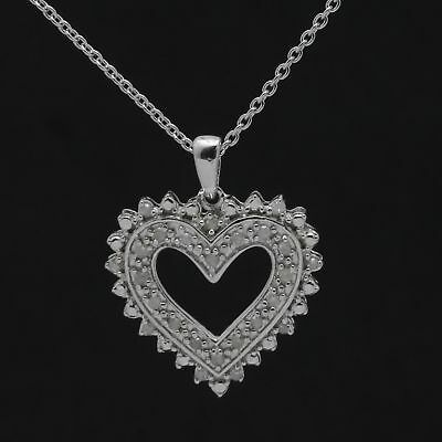 Sterling Silver Diamond Heart Pendant Necklace 1/8 ct , 19'' Chain