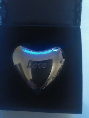 Brighton Silver Love Puffy Heart Chime ornament new in box paperweight