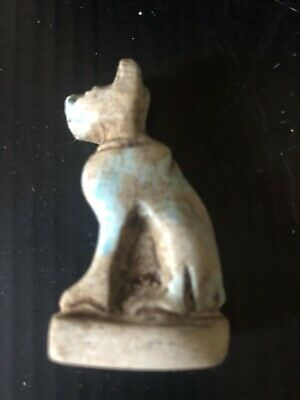 Rare Ancient Egyptian Blue Cat Amulet 26th DYN 680 Bc