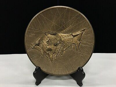 Modern Quality Abstract Bull Solid Bronze Charger Stamped By Artist