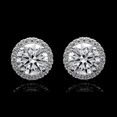2.00CT Brilliant Created Diamond Halo Stud Earrings Sterling Silver Round VVS1