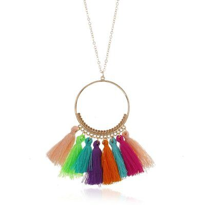 Fashin Ethnic Colorful Tassel Pendant Necklace Sweater Chain Women Jewellery New