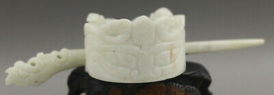 Chinese old natural jade hand-carved phenix hairpin NO.G457