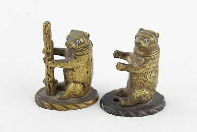 Pair of Antique 19th Century BRASS VESTA CASES Performing Bears Glass Eyes 341g