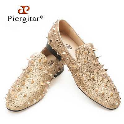 PIERGITAR New Man's Slippers Loafers Flat With Spikes and Red Bottom Size 5~14.5