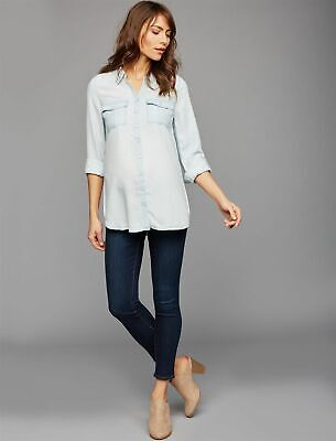 NWOT Luxe Led jean denim whitewash jacket shirt Pea in the Pod S