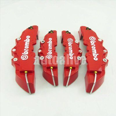 4pcs Front + Rear 3D Style Disc Brake Caliper Covers Universal Red