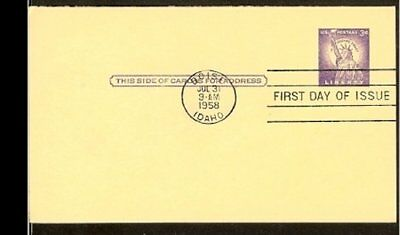 1958 - USA Card FDC - 3c imprint with paid reply [NL407_28]