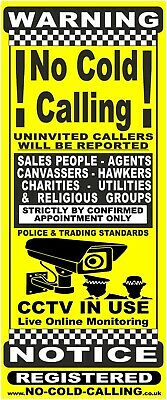NO COLD CALLING DOOR//WINDOW SIGN SIZE 8.5cm x 4cm YELLOW No Cold Callers Sign