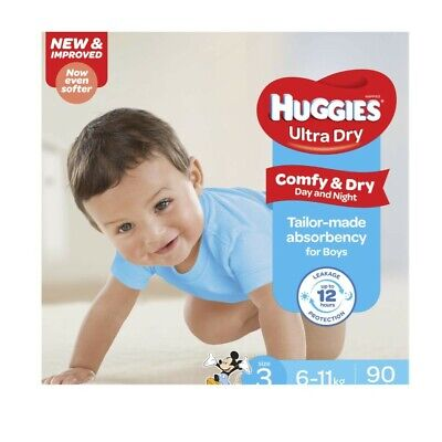 Huggies Ultra Dry Nappy For Boys 6-11 Kg Size 3 90 pack