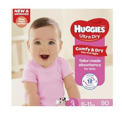Huggies Ultra Dry Baby & Child Care Jumbo Nappies for Girls 6-11 Kg Size 3 90...